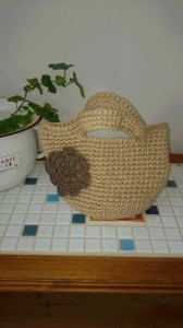 麻ヒモで編むミニバッ2